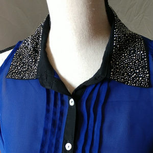 Truth NYC Tops - Truth NYC cold shoulder sparkle collar button up